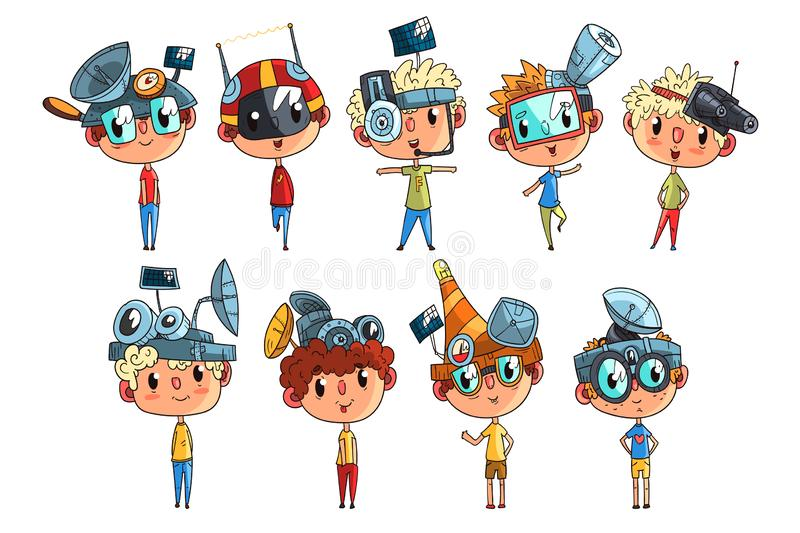 研究物理科学实验集合,意想不到的头饰的滑稽的男孩的逗人喜爱的科学家孩子与天线传染媒介 向量例证