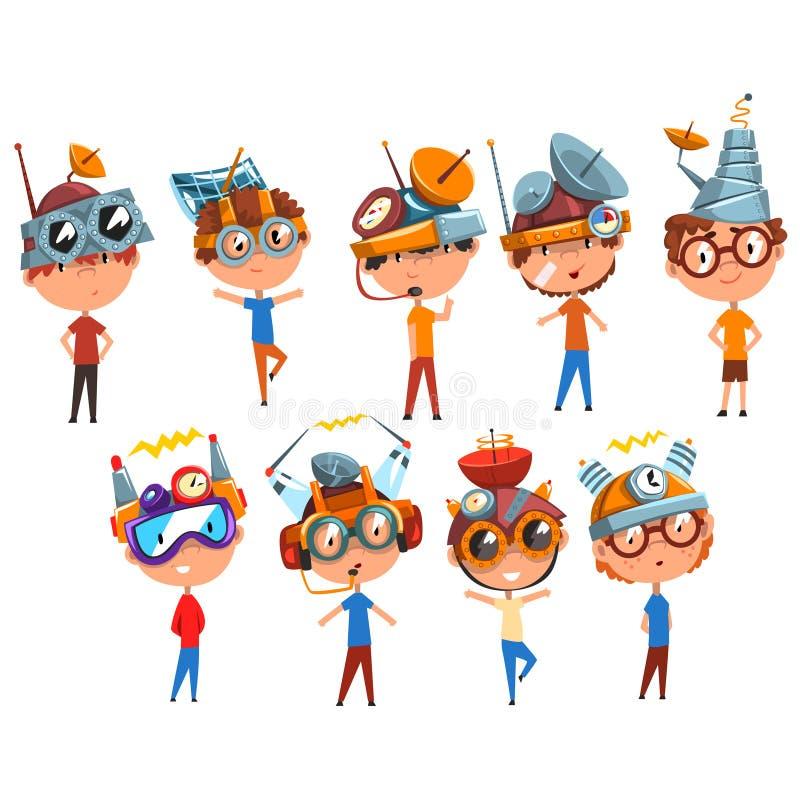 研究物理科学实验集合,意想不到的头饰的男孩的科学家孩子与天线传染媒介 向量例证