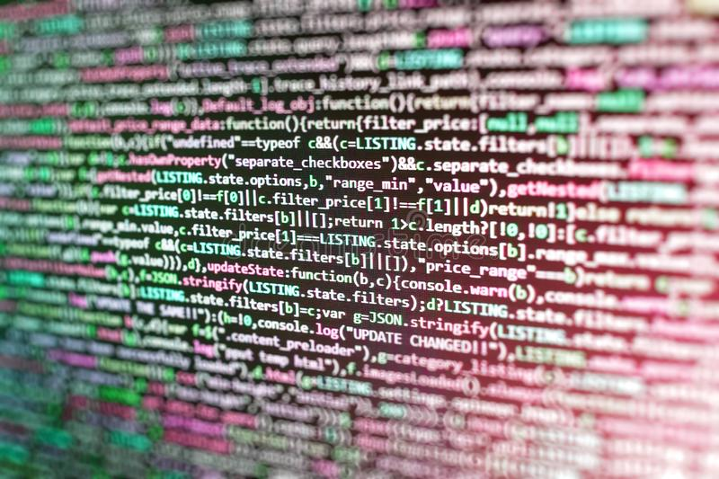研究网站代码的开发商在办公室 软件病毒和编制程序技术抽象屏幕  互联网应用程序 库存图片