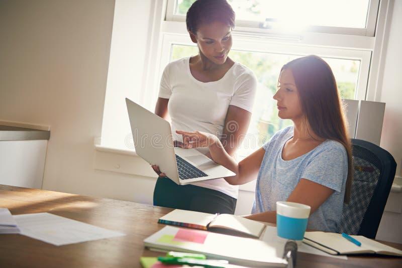 研究膝上型计算机的两个女性商务伙伴 库存照片