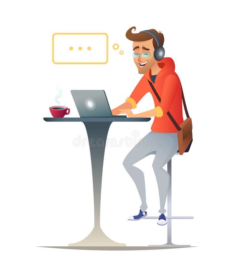 研究膝上型计算机的商人或自由职业者在咖啡馆 向量例证