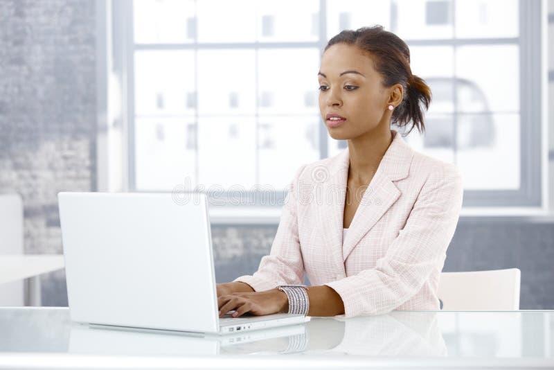 研究膝上型计算机的女实业家 免版税库存照片