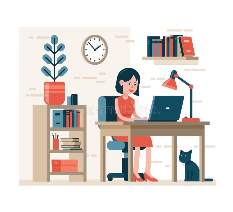 研究膝上型计算机的妇女坐椅子在家庭内部的书桌 向量例证