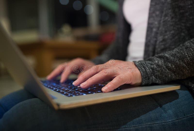 研究膝上型计算机的无法认出的妇女的手 免版税库存图片