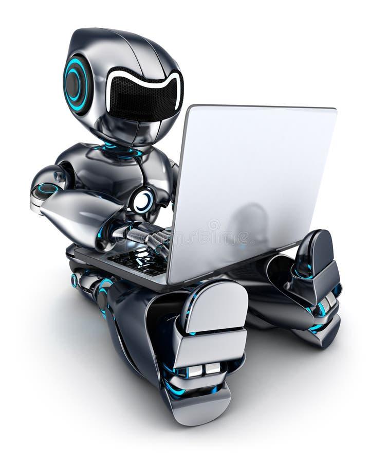 研究膝上型计算机的机器人 皇族释放例证