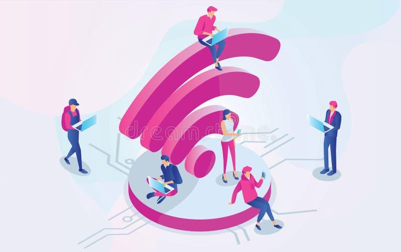 研究膝上型计算机的等量人民坐一大wifi在自由互联网区域签字 自由wifi热点,公众估计区域, 向量例证