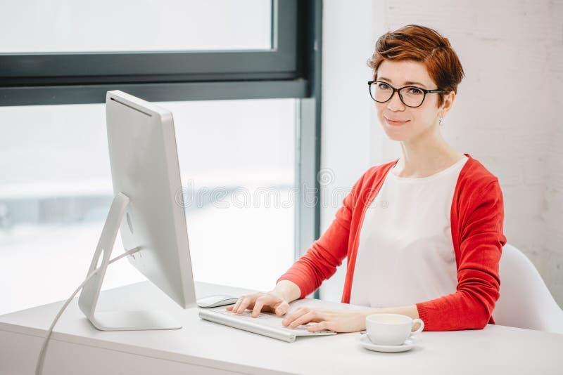 研究计算机和看照相机的女实业家在办公室 库存图片