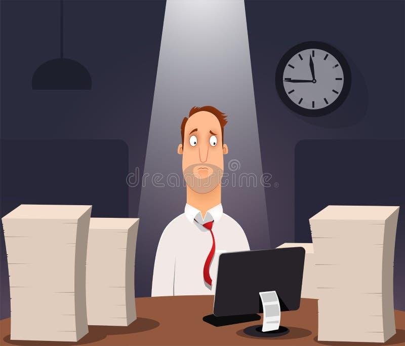研究计算机的办公室工作者 库存例证