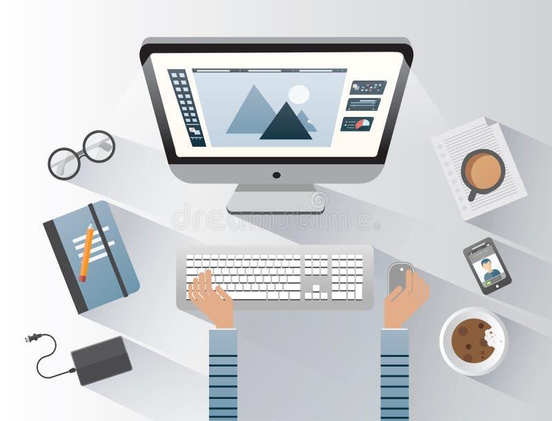 研究计算机的设计师在书桌 皇族释放例证