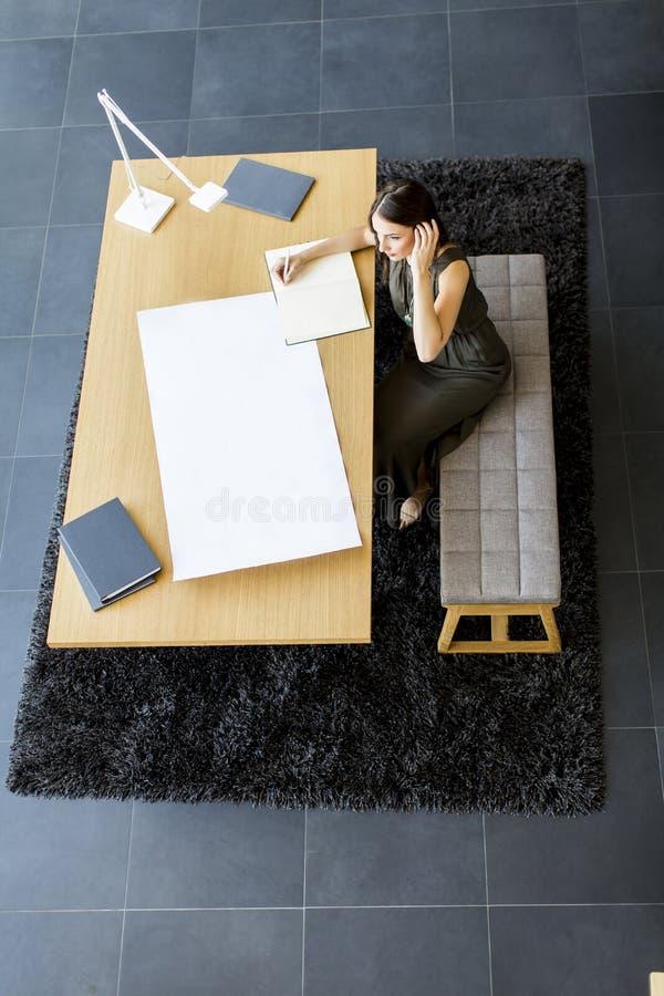 研究项目的年轻女性建筑师 免版税库存图片