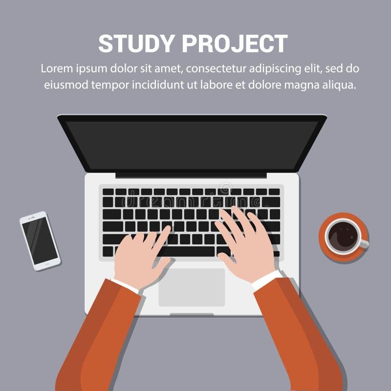 研究项目 膝上型计算机和手在键盘 向量例证