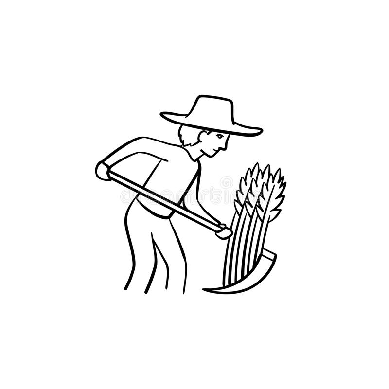 研究领域手拉的剪影象的农夫 库存例证
