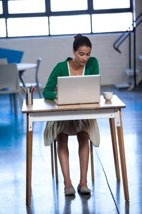 研究他的膝上型计算机的女实业家 免版税库存图片
