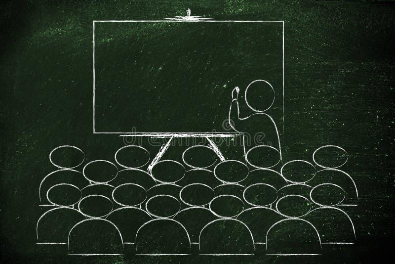 研讨会或学校课程与写的辅导者在黑板 免版税库存图片