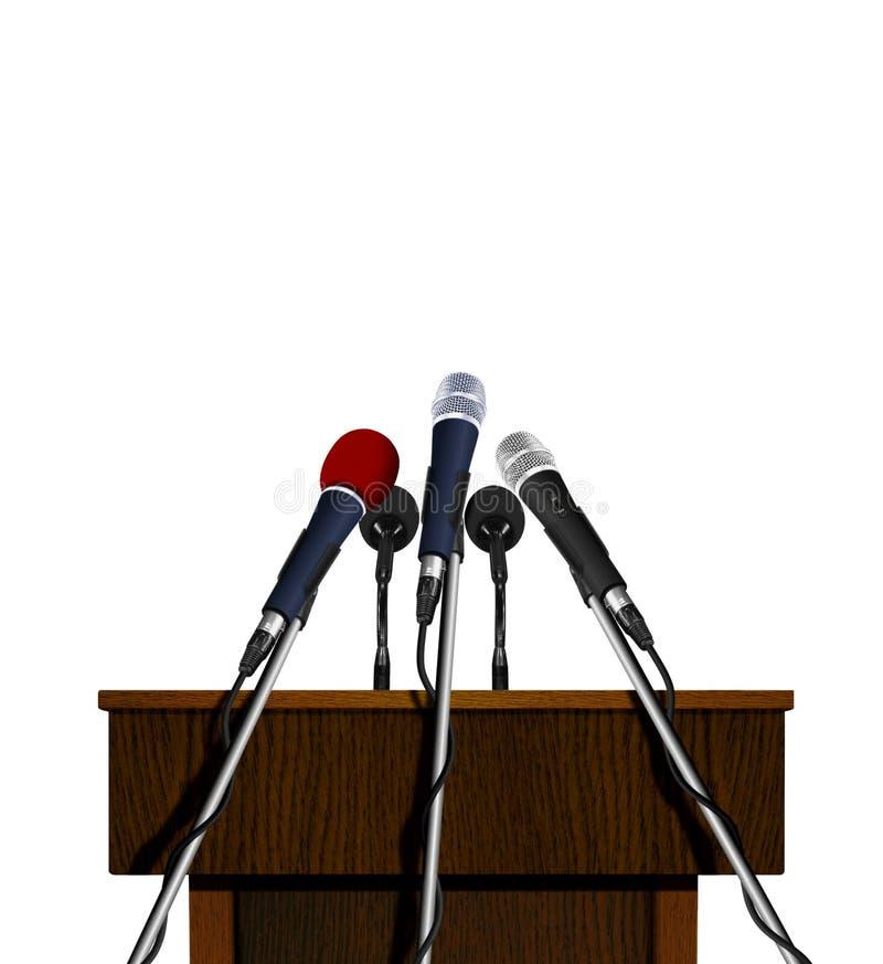 研讨会讲话指挥台和话筒 库存图片