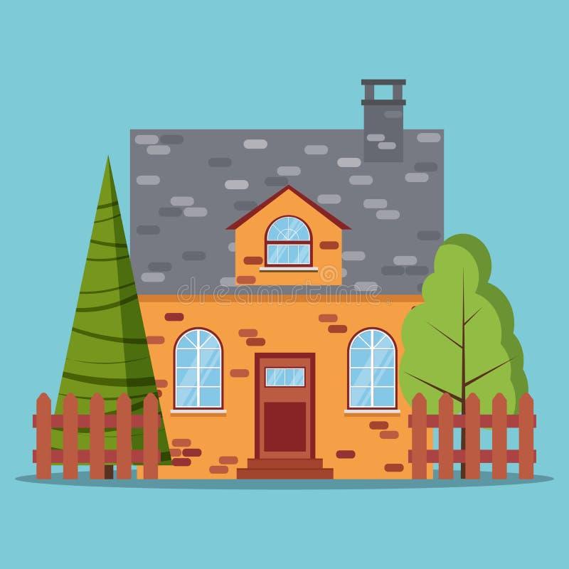 砖与篱芭的农厂村庄,绿色树,在平的动画片样式的云杉被隔绝的象  向量例证