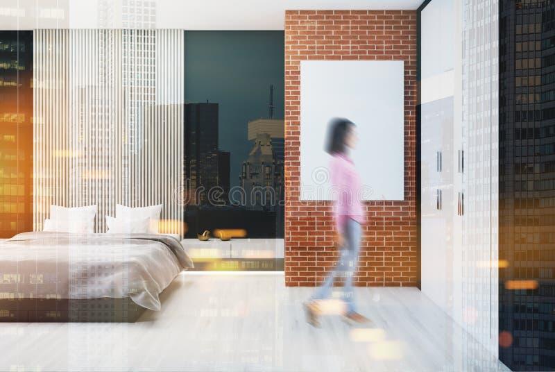 砖和木卧室,海报,被定调子的扶手椅子 向量例证