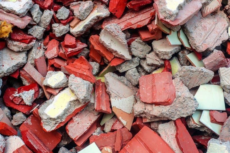 砖和混凝土废墟特写镜头照片 免版税图库摄影