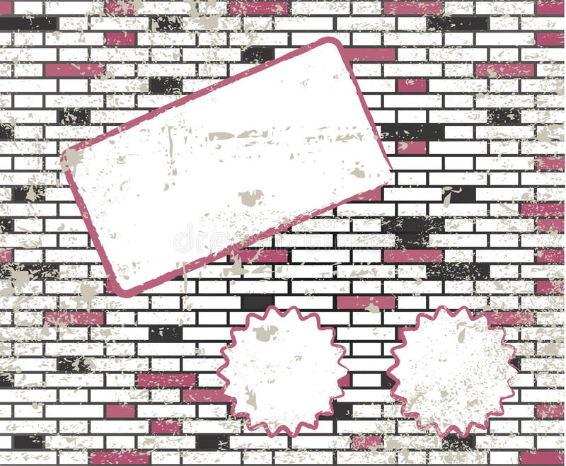 砖坏的附注光栅粘性t墙壁 向量例证