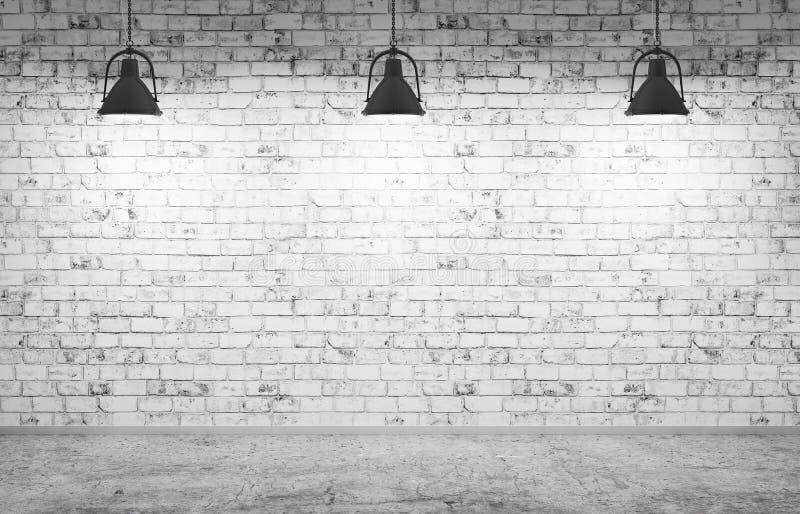 砖墙、水泥地板和灯背景3d回报 皇族释放例证