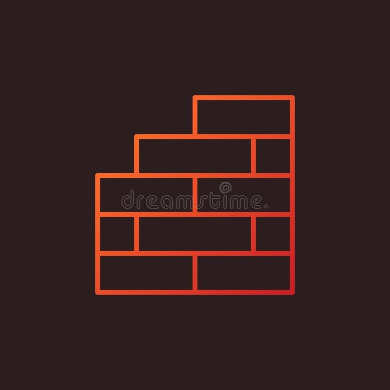 砖墙传染媒介概念线性色的象或商标 库存例证