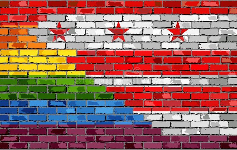 砖墙华盛顿, D C 并且快乐旗子 皇族释放例证