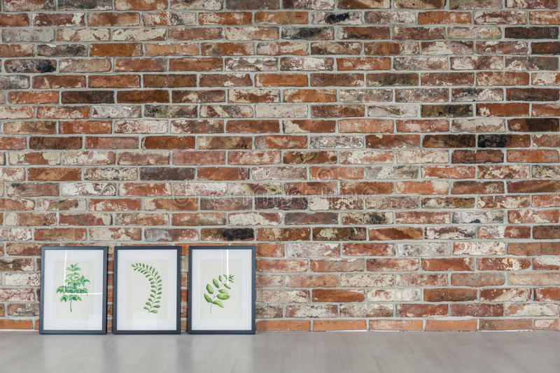 砖墙和叶子绘画 免版税库存照片