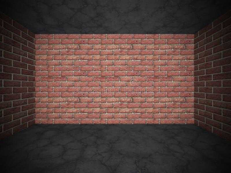 砖墙和水泥破裂的石地板 难看的东西背景 皇族释放例证