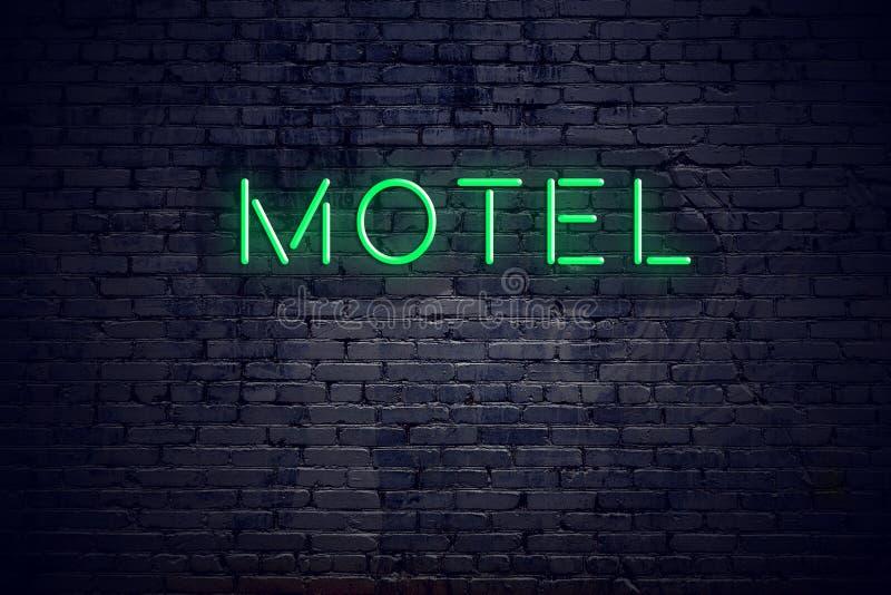 砖墙在与霓虹灯广告汽车旅馆的晚上 向量例证