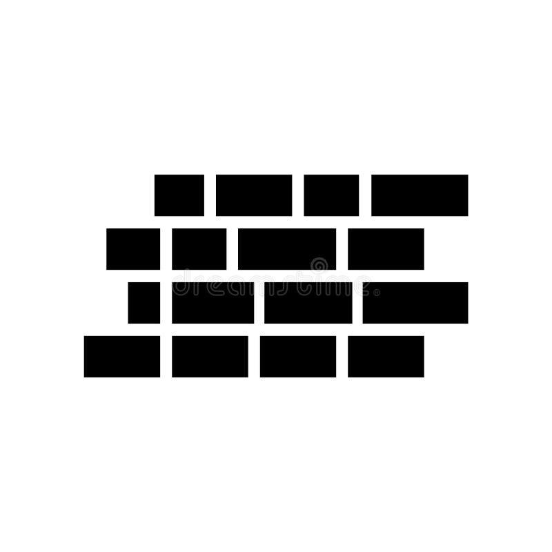 砖墙在白色背景隔绝的象传染媒介,砖墙标志,建筑标志 库存例证