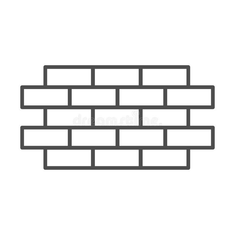 砖墙稀薄的线象 砖在白色隔绝的传染媒介例证 砖砌概述样式设计,设计为 库存例证