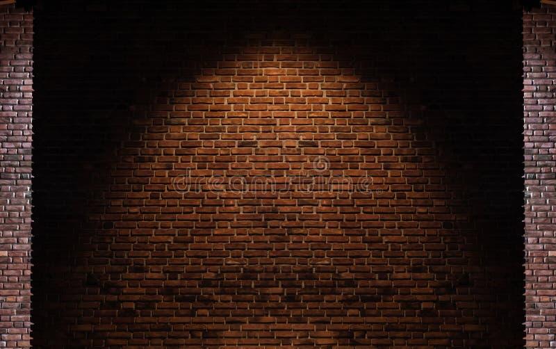 砖墙纹理背景,与在中心的亮点 免版税库存照片