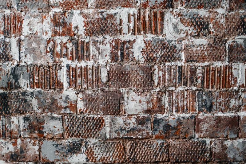砖墙纹理-与老砖的背景 免版税图库摄影