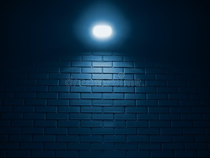 砖墙蓝色被定调子的背景的一明亮的灯上面 免版税库存图片