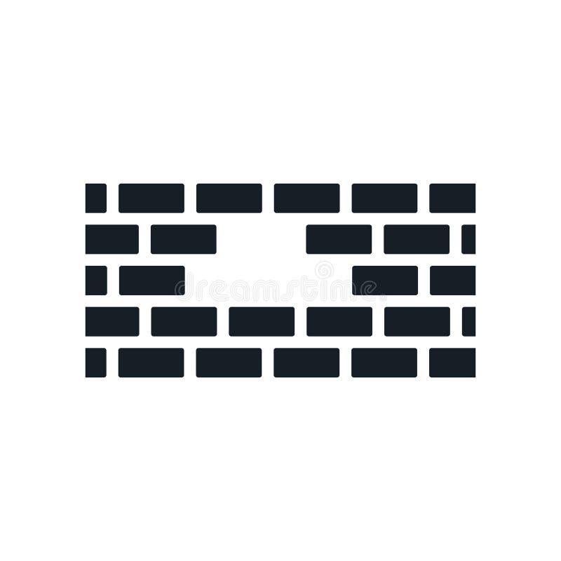 砖墙象在白色背景和标志隔绝的传染媒介标志,砖墙商标概念 库存例证