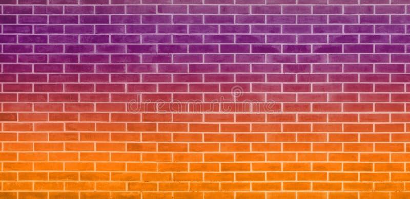 砖墙,图形设计的橙色紫色砖墙纹理背景 向量例证