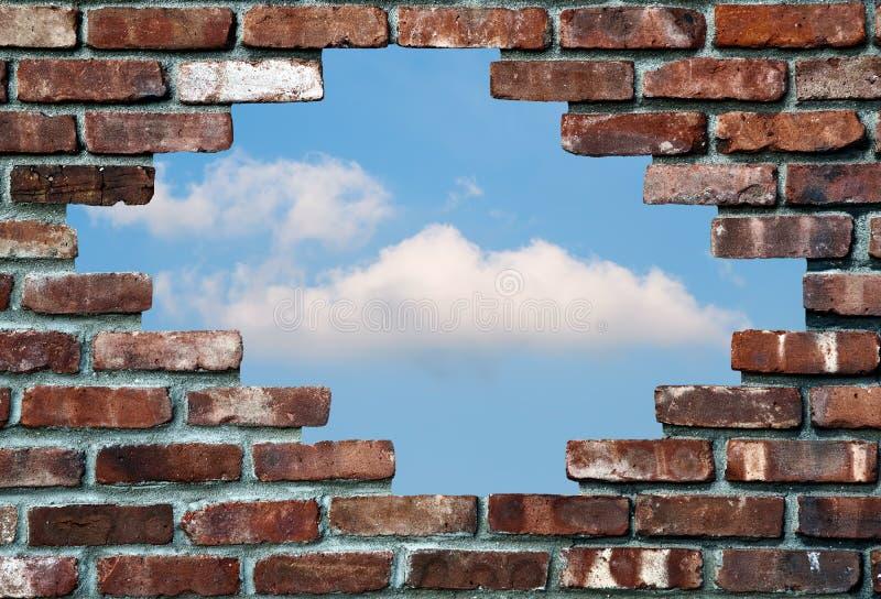 砖天空墙壁 库存图片