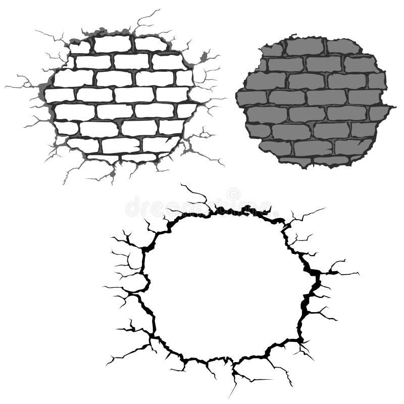 砖崩裂墙壁 向量例证