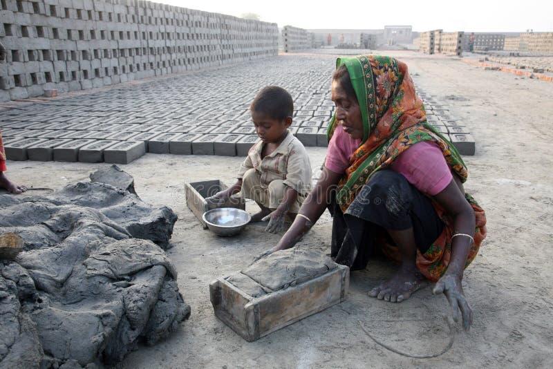 砖工厂在Saeberia,西孟加拉邦,印度 图库摄影