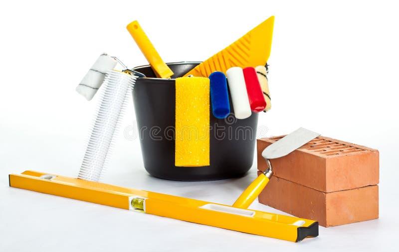 砖建筑级别绘画工具 库存照片