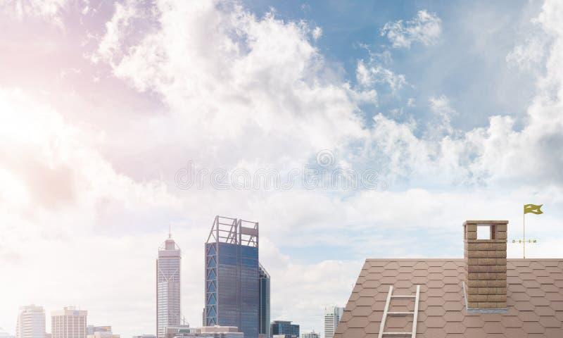 砖房子屋顶和现代都市风景在背景 免版税库存照片
