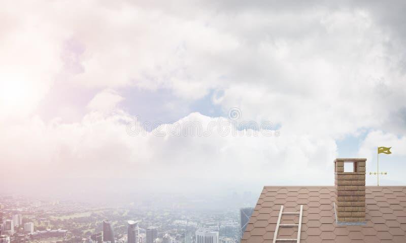 砖房子屋顶和现代都市风景在背景 图库摄影