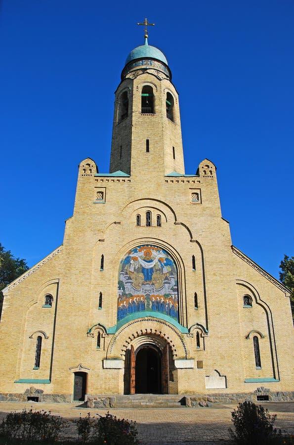 砖教会门面在乌克兰 免版税库存照片