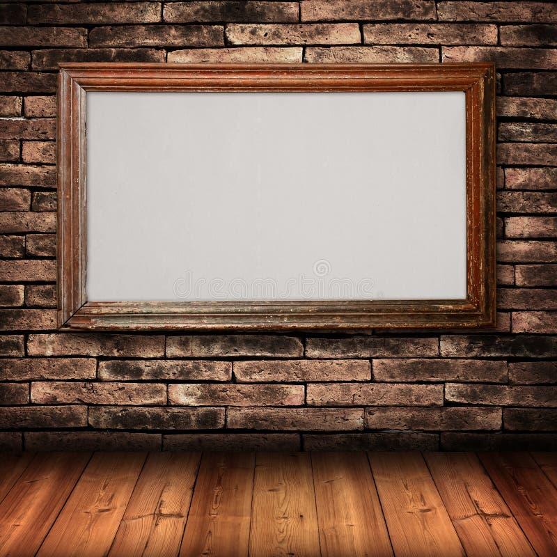 砖框架墙壁木头 图库摄影