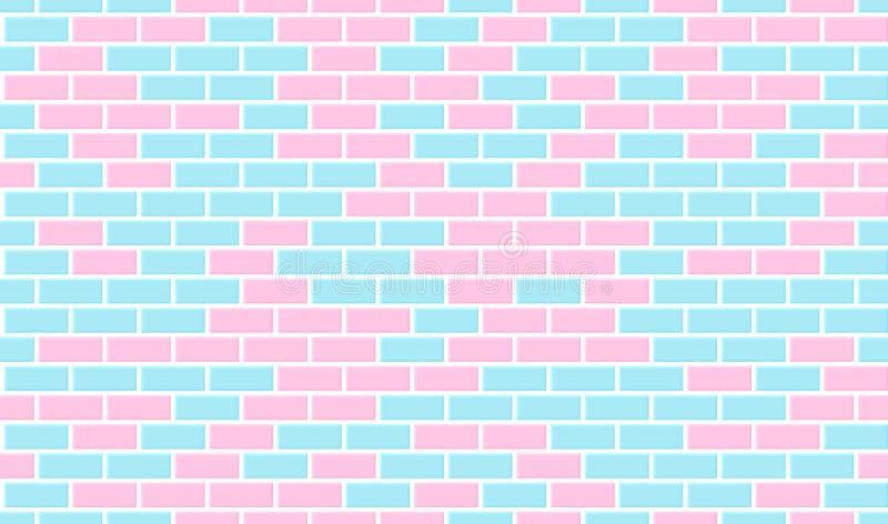 砖模式无缝的墙壁 蓝色和桃红色瓷砖 背景现代向量 库存例证