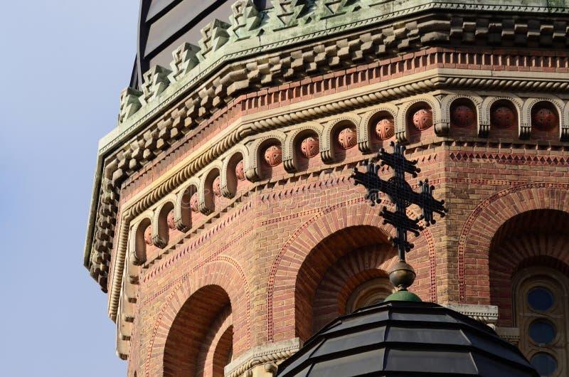 砖正统温床教会圆顶,乌克兰特写镜头  库存照片