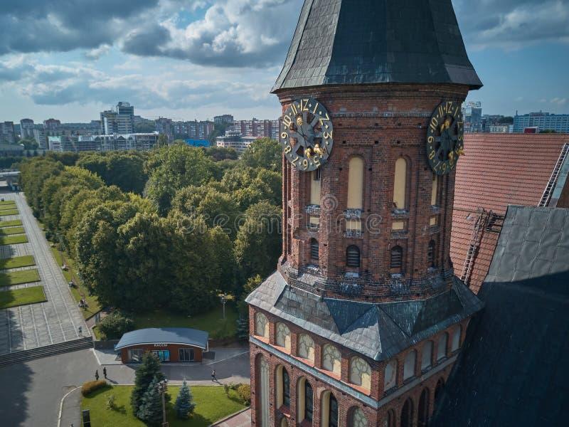 砖瓦房大教堂哥特式海岛加里宁格勒konigsberg预凝胶样式 加里宁格勒,以前Koenigsberg,俄罗斯 免版税图库摄影