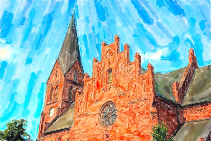 砖石头教会在波罗的海镇Warnemunde在德国 库存例证