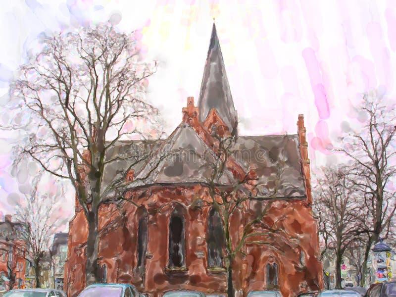 砖石头教会在波罗的海镇Warnemunde在德国 向量例证