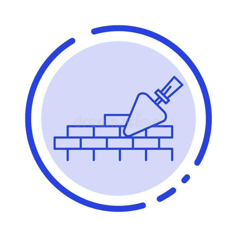 砖砌,泥工,大厦,旅行蓝色虚线线象 皇族释放例证